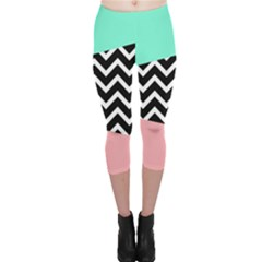 Chevron Green Black Pink Capri Leggings