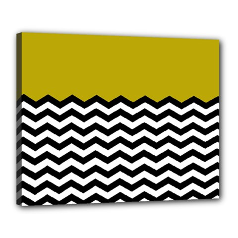 Colorblock Chevron Pattern Mustard Canvas 20  X 16