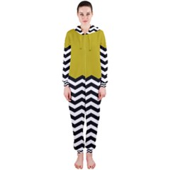 Colorblock Chevron Pattern Mustard Hooded Jumpsuit (ladies)