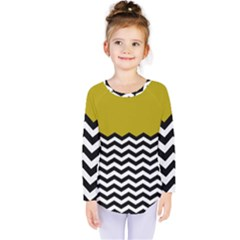 Colorblock Chevron Pattern Mustard Kids  Long Sleeve Tee