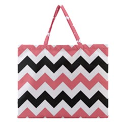 Chevron Crazy On Pinterest Blue Color Zipper Large Tote Bag by AnjaniArt