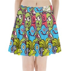 Colourful Monster Flooring Pleated Mini Skirt