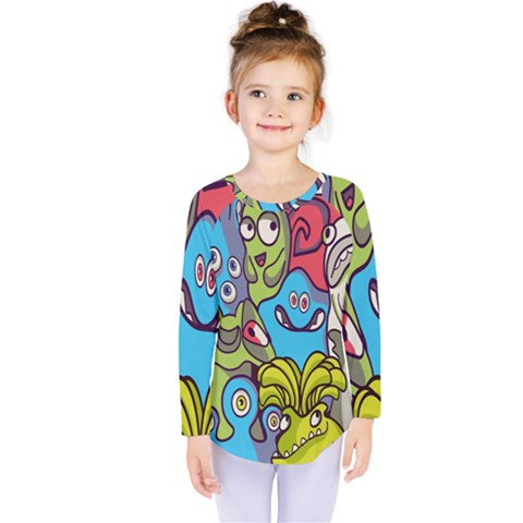 Colourful Monster Flooring Kids  Long Sleeve Tee by AnjaniArt