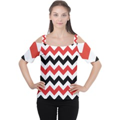 Colored Chevron Printable Women s Cutout Shoulder Tee by AnjaniArt