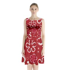 Flower Red Cute Sleeveless Chiffon Waist Tie Dress