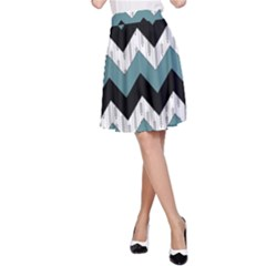 Green Black Pattern Chevron A Line Skirt by AnjaniArt