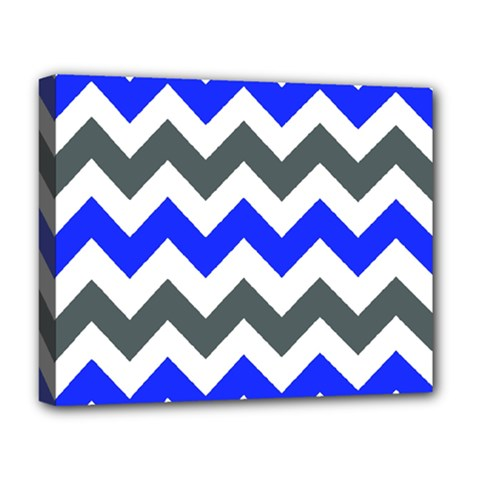 Grey And Blue Chevron Deluxe Canvas 20  X 16   by AnjaniArt