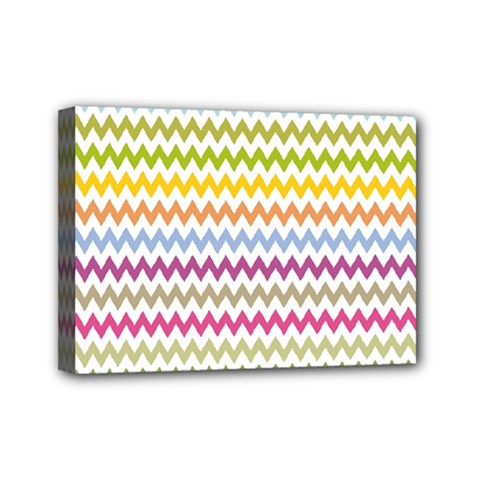 Color Full Chevron Mini Canvas 7  X 5  by AnjaniArt