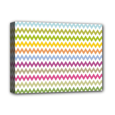 Color Full Chevron Deluxe Canvas 16  X 12   by AnjaniArt
