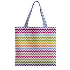 Color Full Chevron Zipper Grocery Tote Bag