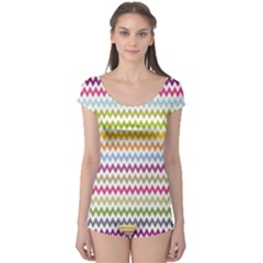 Color Full Chevron Boyleg Leotard