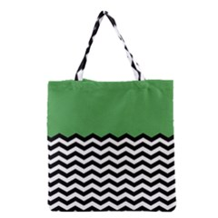 Lime Green Chevron Grocery Tote Bag by AnjaniArt