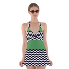 Lime Green Chevron Halter Swimsuit Dress