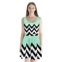 Mint Green Chevron Split Back Mini Dress