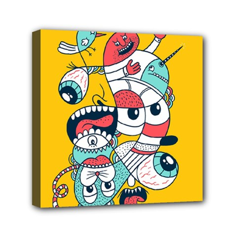 Monster Animals Mini Canvas 6  X 6  by AnjaniArt
