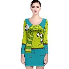 Monster Sea Too Big To Sail Long Sleeve Velvet Bodycon Dress by AnjaniArt