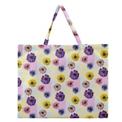 Monster Eye Flower Zipper Large Tote Bag
