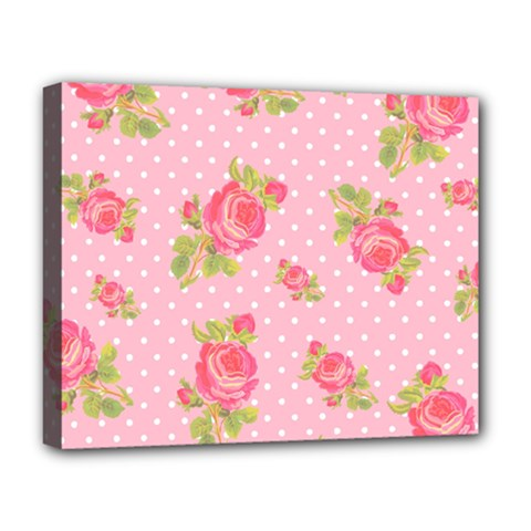 Rose Pink Deluxe Canvas 20  X 16   by AnjaniArt