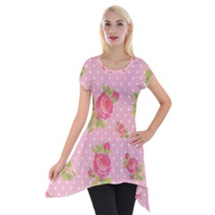 Rose Pink Short Sleeve Side Drop Tunic by AnjaniArt