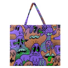 Monster Alien Ghost Zipper Large Tote Bag by AnjaniArt