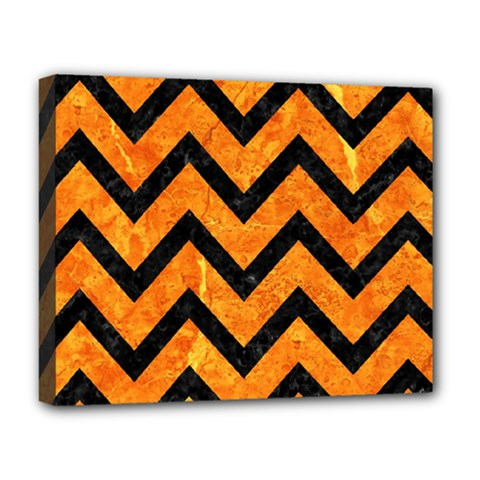 Chevron9 Black Marble & Orange Marble (r) Deluxe Canvas 20  X 16  (stretched) by trendistuff