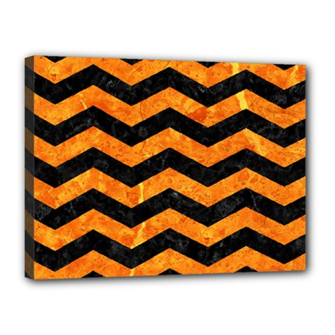 Chevron3 Black Marble & Orange Marble Canvas 16  X 12  (stretched) by trendistuff