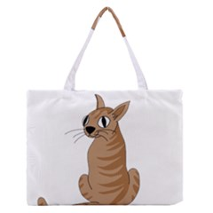 Brown Cat Medium Zipper Tote Bag by Valentinaart