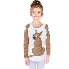 Brown Cat Kids  Long Sleeve Tee by Valentinaart