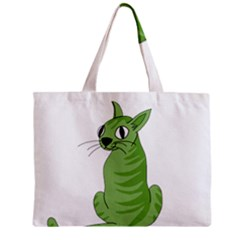 Green Cat Zipper Mini Tote Bag by Valentinaart