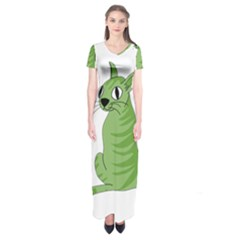 Green Cat Short Sleeve Maxi Dress by Valentinaart