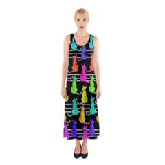 Colorful Cats Pattern Sleeveless Maxi Dress