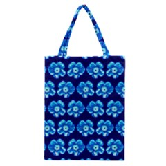 Turquoise Blue Flower Pattern On Dark Blue Classic Tote Bag by Costasonlineshop