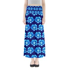 Turquoise Blue Flower Pattern On Dark Blue Maxi Skirts by Costasonlineshop