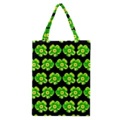 Green Yellow Flower Pattern On Dark Green Classic Tote Bag by Costasonlineshop