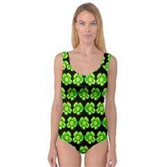 Green Yellow Flower Pattern On Dark Green Princess Tank Leotard