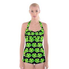 Green Yellow Flower Pattern On Dark Green Boyleg Halter Swimsuit