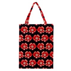 Red  Flower Pattern On Brown Classic Tote Bag by Costasonlineshop