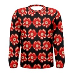 Red  Flower Pattern On Brown Men s Long Sleeve Tee