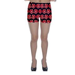 Red  Flower Pattern On Brown Skinny Shorts by Costasonlineshop