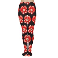 Red  Flower Pattern On Brown Women s Tights