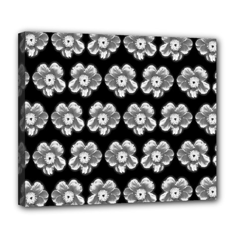 White Gray Flower Pattern On Black Deluxe Canvas 24  X 20   by Costasonlineshop