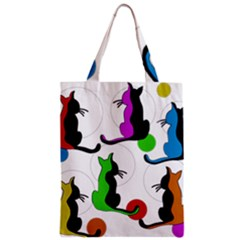Colorful Abstract Cats Zipper Classic Tote Bag by Valentinaart