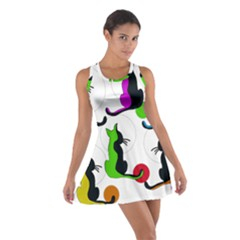 Colorful Abstract Cats Cotton Racerback Dress by Valentinaart