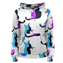 Purple Abstract Cats Women s Pullover Hoodie