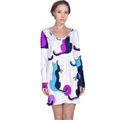 Purple Abstract Cats Long Sleeve Nightdress by Valentinaart