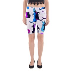 Purple Abstract Cats Yoga Cropped Leggings