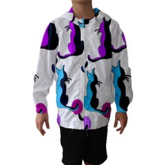 Purple Abstract Cats Hooded Wind Breaker (kids) by Valentinaart