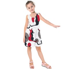 Elegant Abstract Cats  Kids  Sleeveless Dress by Valentinaart