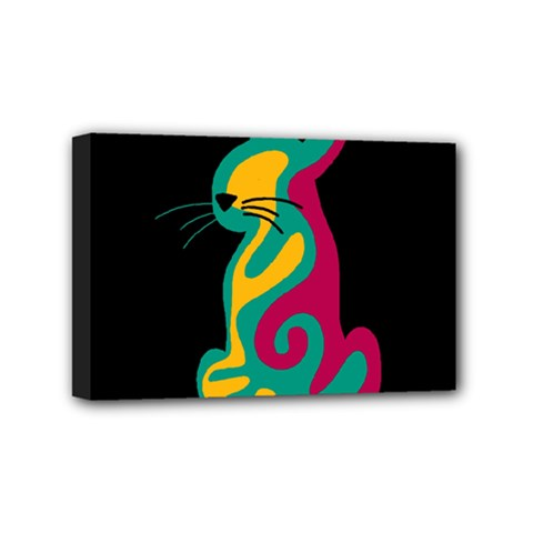 Colorful Abstract Cat  Mini Canvas 6  X 4  by Valentinaart