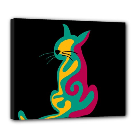 Colorful Abstract Cat  Deluxe Canvas 24  X 20   by Valentinaart